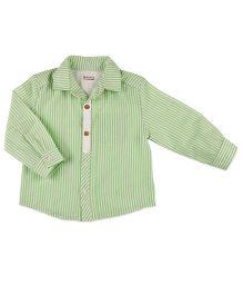 Pranava Striped Print Shirt With Placket - Green