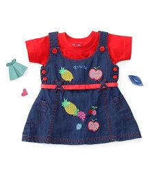 Enfance Fruits Embroidery Denim Dress With Inner - Blue