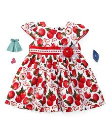 Enfance Apple Print With Lace & Netted Bow Dress - Red