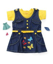 Enfance Embroidery Denim Dress With Inner - Blue