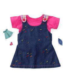 Enfance Pinafore Embroidery Denim Dress With Inner - Blue