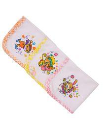 MomToBe Multi Printed Napkins Pack Of 3 - White Orange Yellow Pink