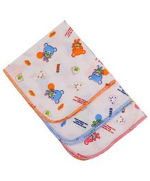 MomToBe Bear Printed Napkins Pack Of 3 - White Orange Blue Pink