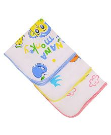 MomToBe Printed Napkins Pack Of 3 - White Yellow Blue Pink