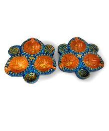 Creative Hand Diwali Terracotta Fancy Diya Set of 2 - Orange & Blue