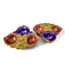Creative Hand Diwali Terracotta Fancy Diya Set of 2 - Metallic Golden & Purple