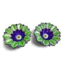 Creative Hand Diwali Terracotta Fancy Diya Set of 2 - Green & Blue