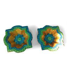 Creative Hand Diwali Terracotta Fancy Diya Set of 2 - Multicolor