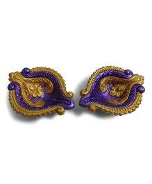 Creative Hand Diwali Terracotta Fancy Diya Set of 2 - Golden & Purple
