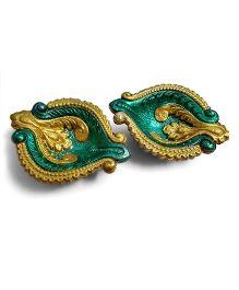 Creative Hand Diwali Terracotta Fancy Diya Set of 2 - Golden & Green