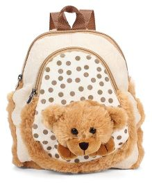 Starwalk Bear Head Plush Toy Bag Polka Dots Brown - 10 inches