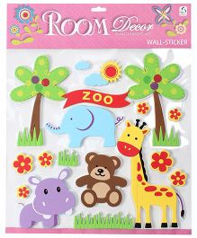 Zoo Animals Star And Trees Shape Wall Sticker