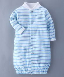 Bachha Essential Full Sleeves Convertor Gown Stripes Print - Blue