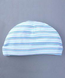 Bachha Essential Baby Cap Stripes Print - Blue