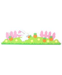 Rabbit And Carrot Print Wall Stickers - Green Pink