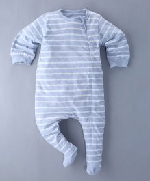 Berrytree Organic Striped Footed Romper - Blue