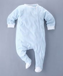 Berrytree Small Striped Print Organic Footed Romper - Baby Blue