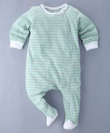 Berrytree Horizontal Stripe Print Organic Footed Romper - Green