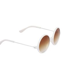 Spiky Classic Round Kids Sunglasses - White & Brown
