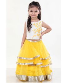 Pre Order : Chiquitita Indo Western Embroidered Crop Top With Lehenga - Yellow & Ivory