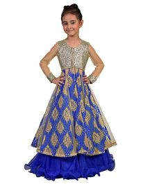Pre Order : Chiquitita Sequenced Embroidered Net Jacket With Curly Hem Lehenga - Blue