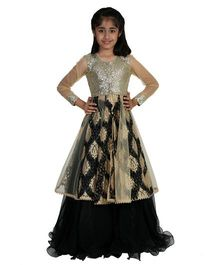 Pre Order : Chiquitita Sequenced Embroidered Net Jacket With Curly Hem Lehenga - Black