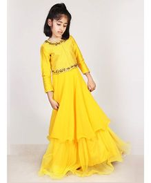 Pre Order : Chiquitita Indian Gown With Zari Embellished Embroidered Jacket - Yellow