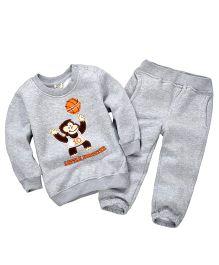 Pre Order - Dells World Monkey Print T-Shirt & Pant Set - Grey