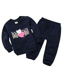 Pre Order - Dells World Winter Wear T-Shirt & Pant Set - Navy Blue