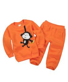 Pre Order - Dells World Winter Wear Monkey Print T-Shirt & Pant Set - Orange