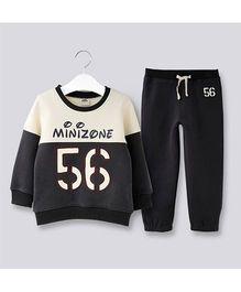 Pre Order - Dells World Number Print T-Shirt & Pant Set - Black