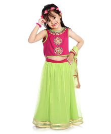Little Pockets Store Lehenga Set - Green