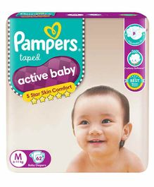 Pampers Active Baby Diapers Medium - 62 Pieces