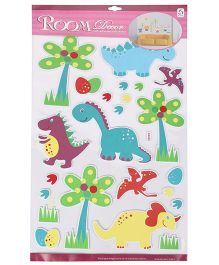 Tree And Dinosaur Shaped Room Decor Sticker - Green Blue