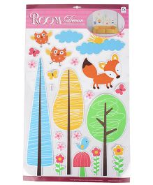 Tree And Fox With Sun Shaped Room Decor Sticker - Multicolor
