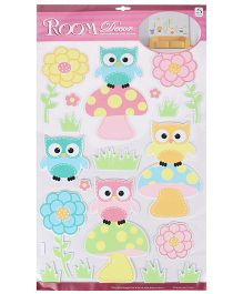 Owl And Flower Shaped Room Decor Sticker - Multicolor