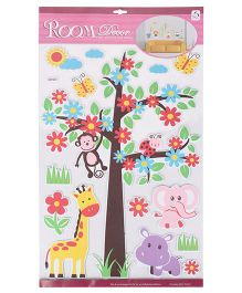 Flower Tree And Monkey Shaped Room Decor Sticker - Multicolor