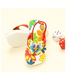 LCL Butterfly Motif Slippers - Red