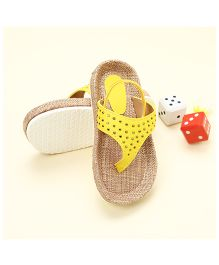 LCL Sandals With Back Strap Rhinestone Studded - Yellow