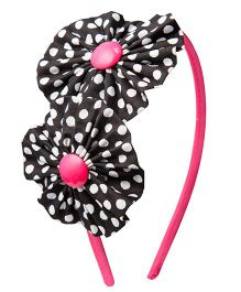 Keira's Pretties Polka Dots Fabric Ruffled Wrapped Hair Band - Brown