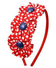 Keira's Pretties Polka Dots Fabric Ruffled Wrapped Hair Band - Red