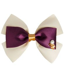 Keira's Pretties Bling Bow Hair Clip - Off White & Violet