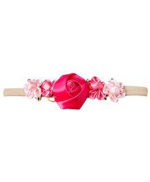 Keira's Pretties Infant Soft Khakhi Nylon Headband With Rosettes - Pink