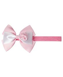 Keira's Pretties Infant Bow With Roses Bouquet Headband - Pink & White