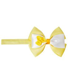 Keira's Pretties Infant Bow With Roses Bouquet Headband - Yellow & White