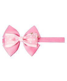 Keira's Pretties Polka Dots Bow Headband - Pink