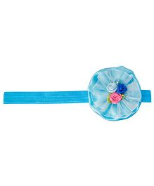 Keira's Pretties Infant Soft Shimmery Headband & Organza Fabric Ruffles With Flower Bouquet - Turquoise Blue