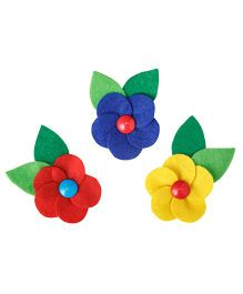 Keira's Pretties Five Petal Spectacular Felt Flower Aligator Clips Combo Pack Of 3 - Multicolor