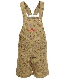 Benext Sleeveless Printed Dungaree - Khaki