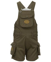 Benext Sleeveless Embroidered Dungaree - Khaki